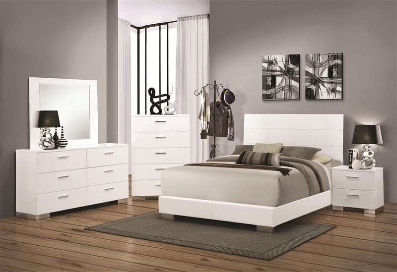 Felicity Piece Bedroom Set In Glossy White Finish By Coaster