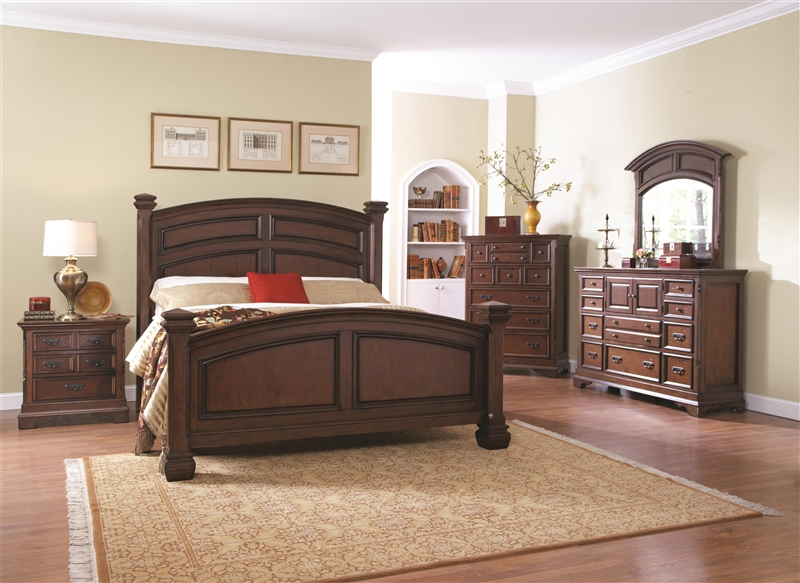 Savannah 6 Piece Bedroom Set In Burnished Cognac Finish By