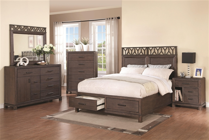 Grayson Storage Bed 6 Piece Bedroom Set in Wire Brushed Dark Black ...