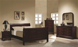 6 Piece Cherry Louis Philippe Sleigh Bedroom Furniture Set by Coaster - COA-200431