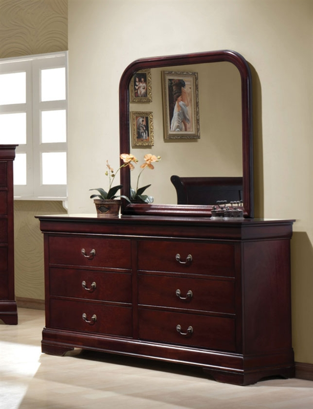 Bedroom Packages: Louis Philippe 6 Piece Bedroom Set In Rich Cherry Finish