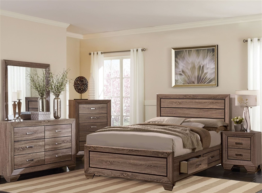 Kauffman Storage Bed 6 Piece Bedroom Set in Washed Taupe Finish by Coaster  - 204190