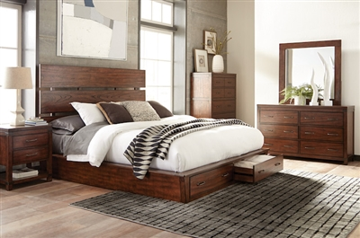 Artesia Storage Bed 6 Piece Bedroom Set in Dark Cocoa Finish by Scott Living - 204470