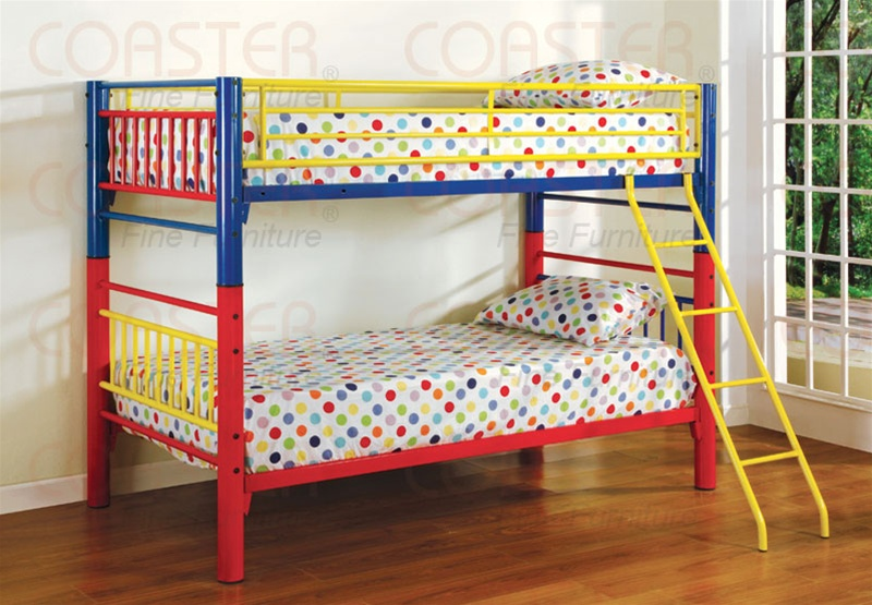 Twin Twin Multicolor Metal Bunk Bed By Coaster 2048