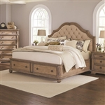 Ilana Upholstered Storage Bed in Antique Linen Finish by Coaster - 205070Q