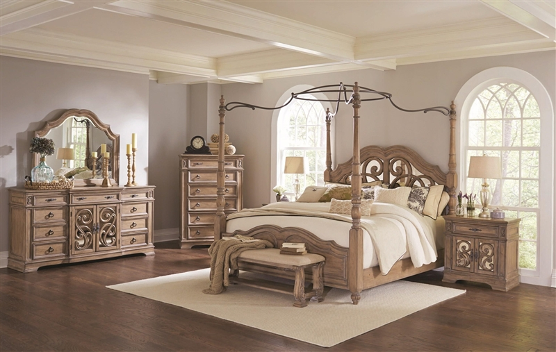 Poster Bed 6 Piece Bedroom Set in Antique Linen Finish by Coaster ...
