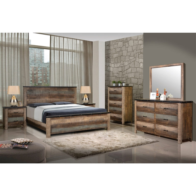 Sembene 6 Piece Bedroom Set in Antique Multicolor Finish by Coaster