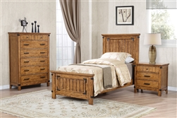 Brenner Panel Bed 4 Piece Youth Bedroom Set in Rustic Honey Finish by Coaster - 205261-T