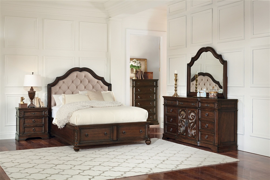 Ilana Upholstered Storage Bed 6 Piece Bedroom Set in Antique Java Finish by  Coaster - 205280