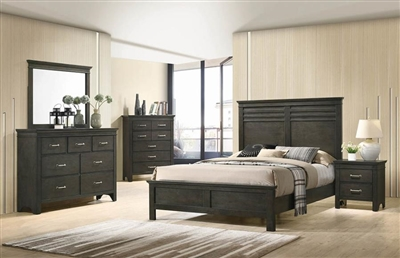 Newberry Panel Bed 6 Piece Bedroom Set in Bark Wood Finish by Coaster - 205431