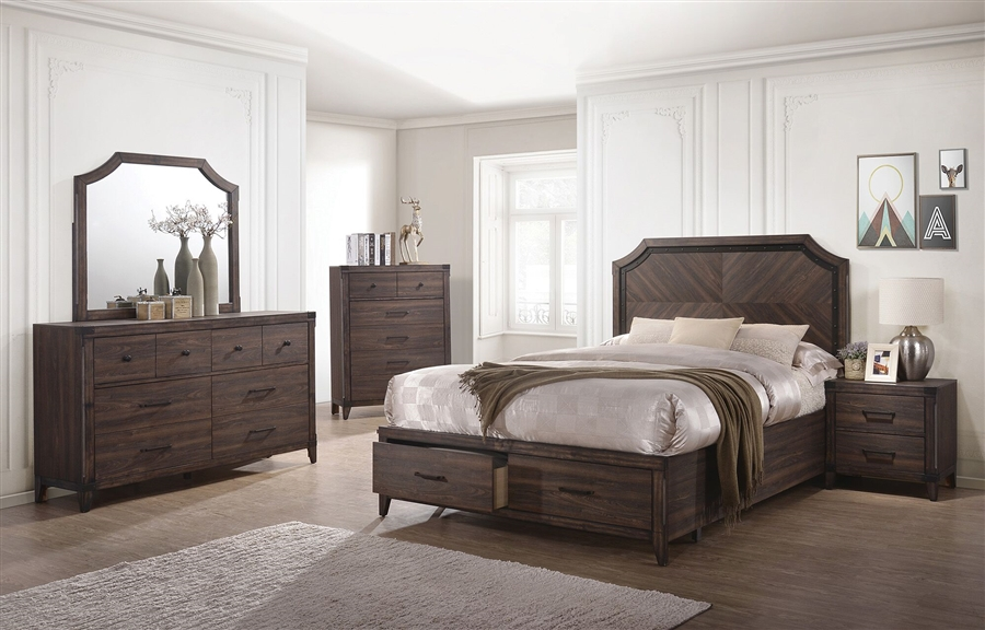 Richmond 6 Piece Bedroom Set in Dark Grey Oak Finish by Coaster - 205710