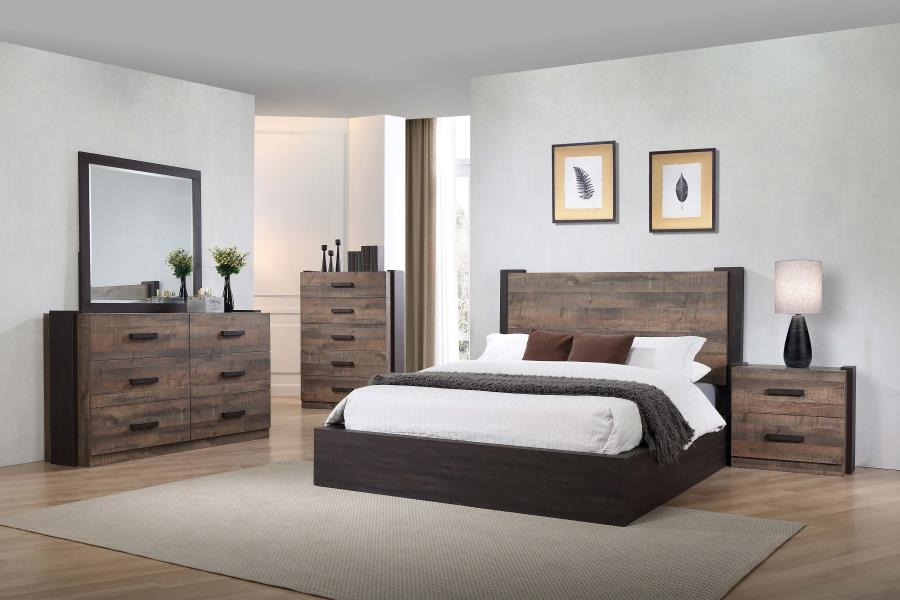 Weston 6 Piece Bedroom Set in Weathered Oak / Rustic Coffee Finish by  Coaster - 206311