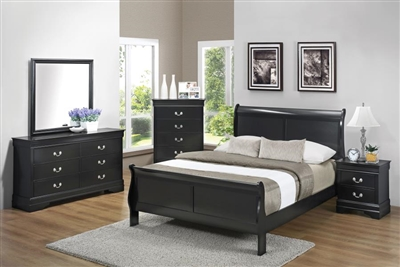 Louis Philippe 6 Piece Bedroom Set in Black Finish by Coaster - 212411
