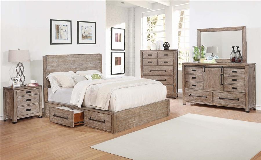 Meester Storage Bed 6 Piece Bedroom Set in Rustic Barn Door Finish ...