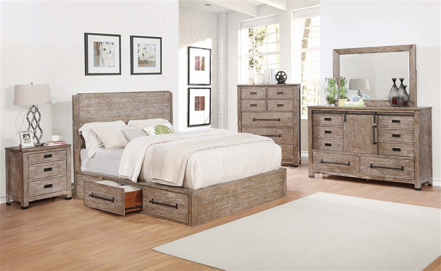 Meester Storage Bed 6 Piece Bedroom Set In Rustic Barn Door Finish By Coaster 215590