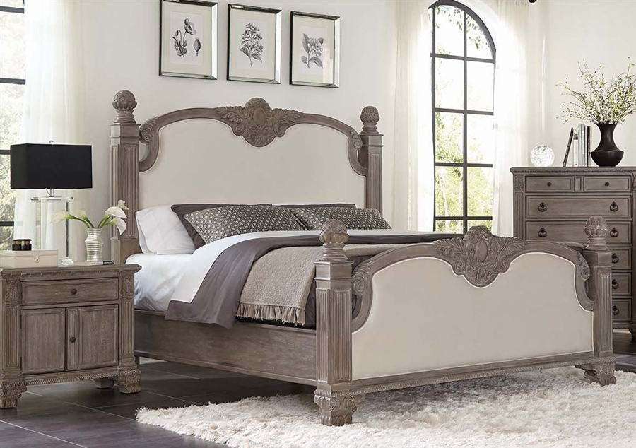 Jenna Upholstered Poster Bed in Vintage Grey Finish by Coaster - 215681Q