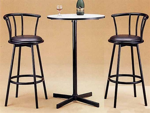 White Laminated Top 3 Piece Counter Height Bar Pub Table Set By Coaster 2170