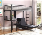 Twin Bunk Bed/Futon Chair in Black Finish by Coaster - 2209