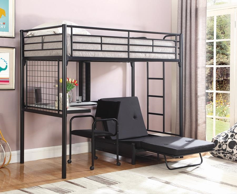 Twin Bunk Bed Futon Chair In Black
