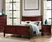 Louis Philippe Sleigh Bed in Cherry Finish by Coaster - 222411Q