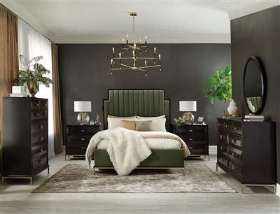 Formosa Platform Dark Moss Velvet Upholstered Bed 6 Piece Bedroom Set in Americano Finish by Coaster - 222821