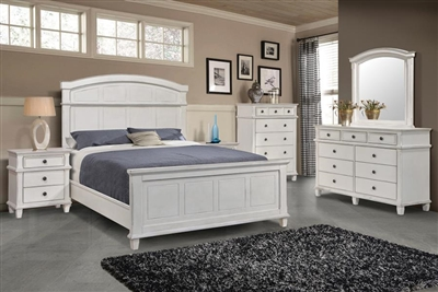 Carolina Panel Bed 6 Piece Bedroom Set in Antique White Finish by Coaster - 222871