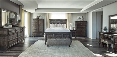 Avenue Panel Bed 6 Piece Bedroom Set in Weathered Burnished Brown Finish by Coaster - 223031
