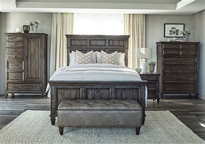 Avenue Panel Bed in Weathered Burnished Brown Finish by Coaster - 223031Q