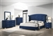 Melody 6 Piece Bedroom Set in Pacific Blue Velvet Fabric Upholstery by Coaster - 223371