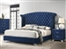 Melody Bed in Pacific Blue Velvet Fabric Upholstery by Coaster - 223371Q
