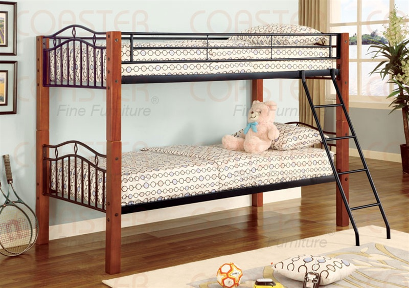 Twin Twin Wood And Metal Bunk Bed By Coaster 2248