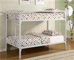 Twin/Twin Bunk Bed in White Finish by Coaster - 2256W