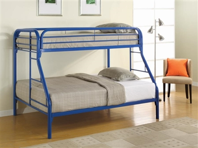 Metal Twin/Full Bunk Bed in Blue Finish by Coaster - 2258B