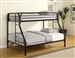 Morgan Twin/Full Bunk Bed in Black Finish by Coaster - 2258K