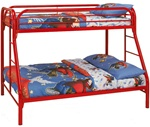 Metal Twin/Full Bunk Bed in Red Finish by Coaster - 2258R