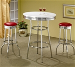 50's Soda Fountain in Retro Chrome 3 Piece Counter Height Bar Table Set by Coaster - 2300R