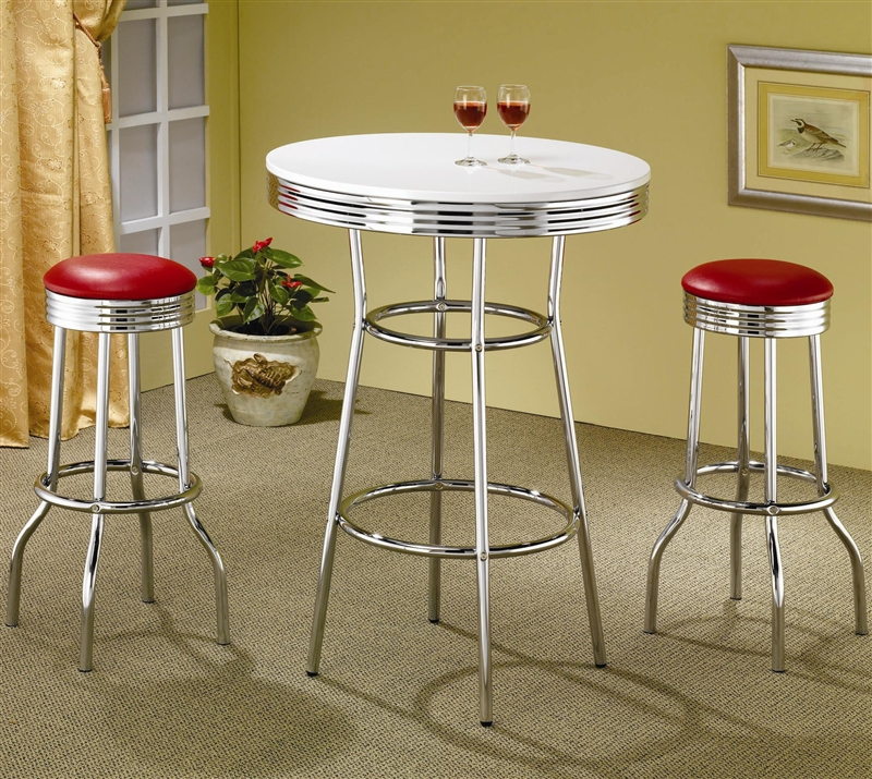 50\'s Soda Fountain in Retro Chrome 3 Piece Counter Height Bar Table Set  with Red Stool Top by Coaster - 2300R