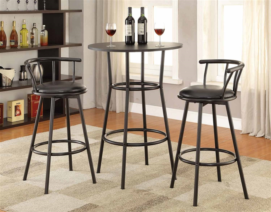 Black Metal Finish Round Top 3 Piece Counter Height Bar Table Set By Coaster 2383