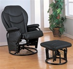 Black Leatherette Glider with Matching Ottoman by Coaster - 2946