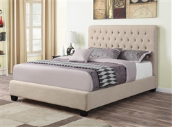 Chloe Oatmeal Linen Upholstered Bed by Coaster - 300007