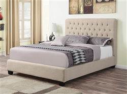 Chloe Oatmeal Linen Upholstered Bed by Coaster - 300007Q