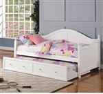 Cottage Daybed with Trundle in White Finish by Coaster - 300053
