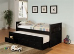 Trundle Daybed in Black Finish by Coaster - 300104