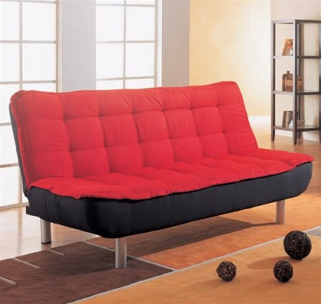 Sofa Bed In Red And Black Cover