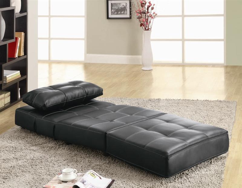 Marvelous Black Vinyl Lounge Chair Sofa Bed By Coaster 300173 Uwap Interior Chair Design Uwaporg