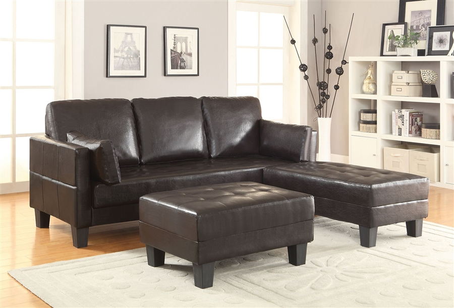 Ellesmere 3 Piece Sofa Bed in Dark Brown Leatherette Upholstery by ...