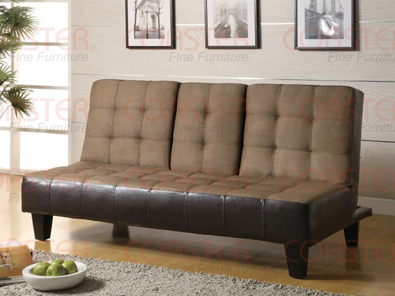 Awe Inspiring Tan Microfiber Dark Brown Vinyl Sofa Bed By Coaster 300237 Creativecarmelina Interior Chair Design Creativecarmelinacom