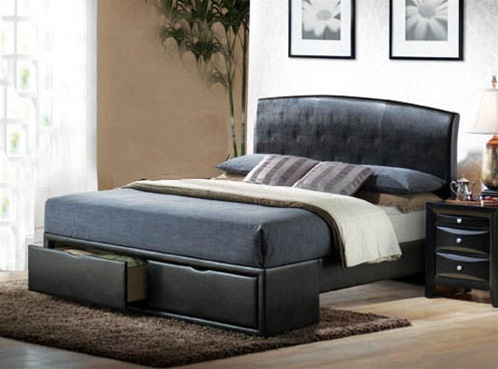 6471cfd9355 Briana Modern Storage Bed in Black Upholstery by Coaster - 300245Q · Larger  Photo ...
