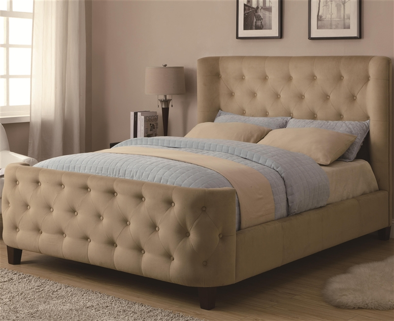 beige button tufted microfiber upholstered bedcoaster - 300248