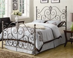 Queen Bed in Dark Metal Finish with Gold Brushed Accents by Coaster - 300259Q